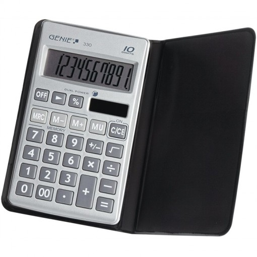 10-stelliger flacher Taschenrechner mit Dual-Power (Solar und Batterie) und Schutzetui