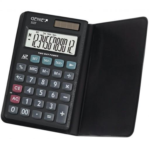 12-stelliger Business-Taschenrechner mit Dual-Power (Solar und Batterie) und Schutzetui
