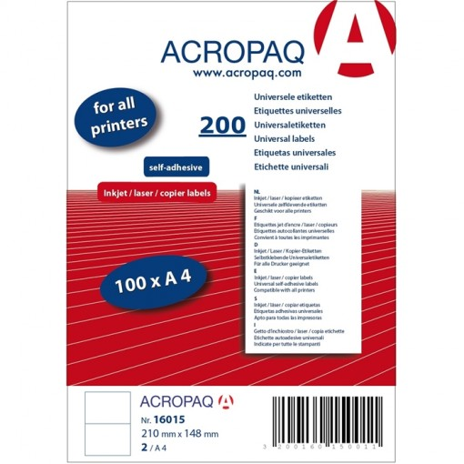 ACROPAQ LABELS - 100 A4 x 2 = 200 étiquettes blanches 210x148mm