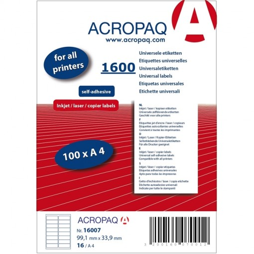 ACROPAQ LABELS - 100 A4 x16 = 1600 étiquettes blanches 99,1x33,9mm
