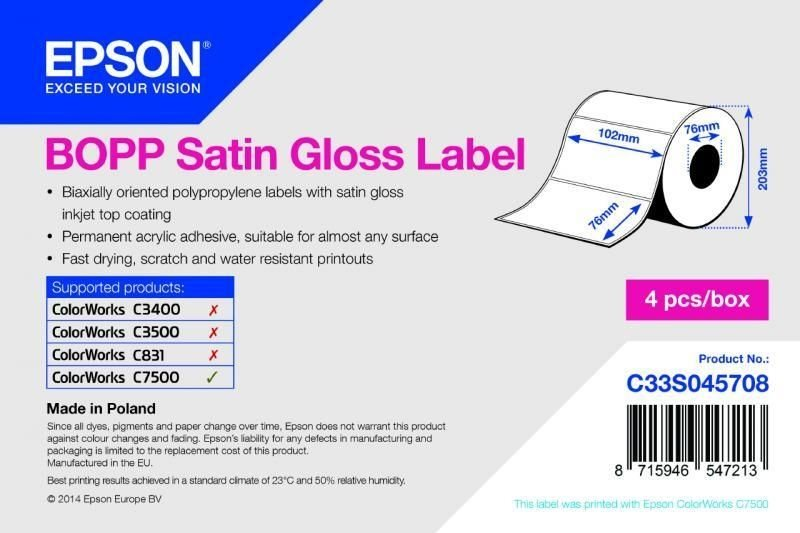 BOPP Satin Gloss Label - Die-cut Roll - C33S045708