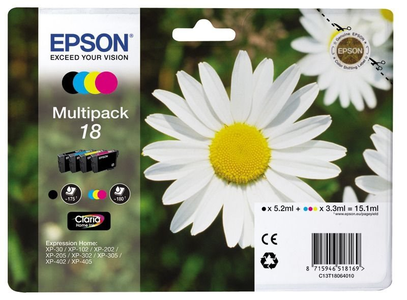 Epson Multipack 4 Farben 18 Claria Home Ink T1806