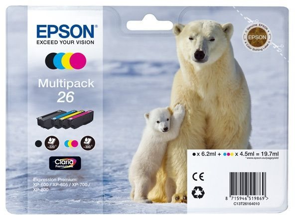 Epson Multipack 4 Farben 26 Claria T2616