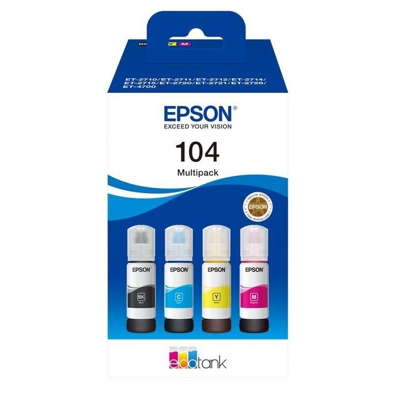Epson Original Tinten-Multipack BK/C/M/Y EcoTank 104 - C13T00P640