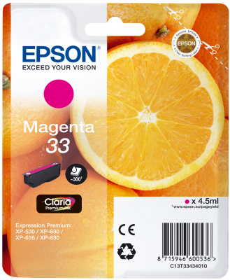 Epson Tinte Singlepack magenta 33 T3343