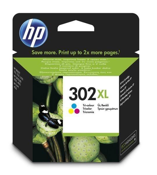 HP 302XL original HC Tinte cyan, magenta, gelb - F6U67AE