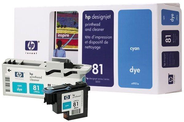 HP 81 cyan Druckkopf und Druckkopfreiniger, farbstoffbasiert - C4951A
