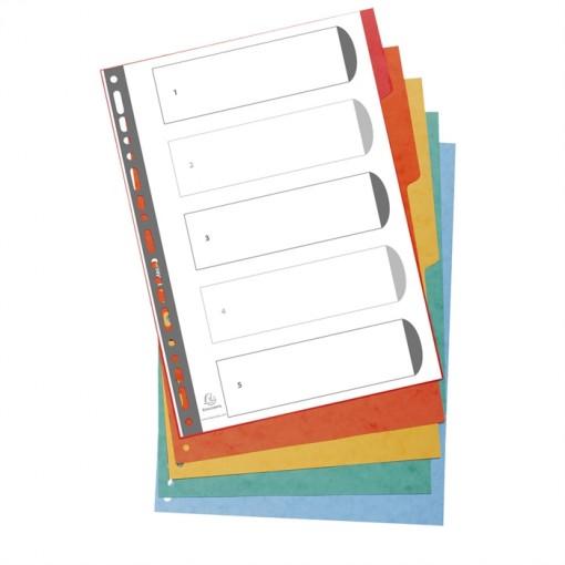 Kartonregister A4 Überb.5-tlg.