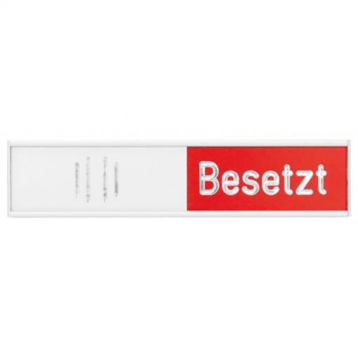 Manuelle Besetztanzeige Deutsch, silber, 102 x 27,4 mm, rot/grün