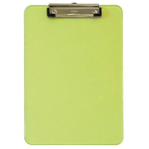 Maul A4 Schreibplatte MAULneon Kunststoff mit Bügelklemme grün transparant