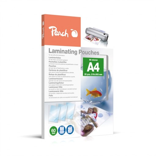 Peach Laminierfolien A4, 60 mic, glänzend, PPR060-02, 25 Stk.