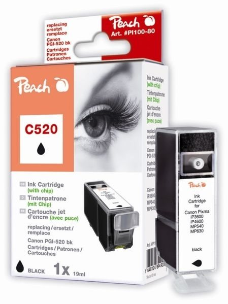 PEACH XL-Tintenpatrone schwarz , PI100-80 / C520