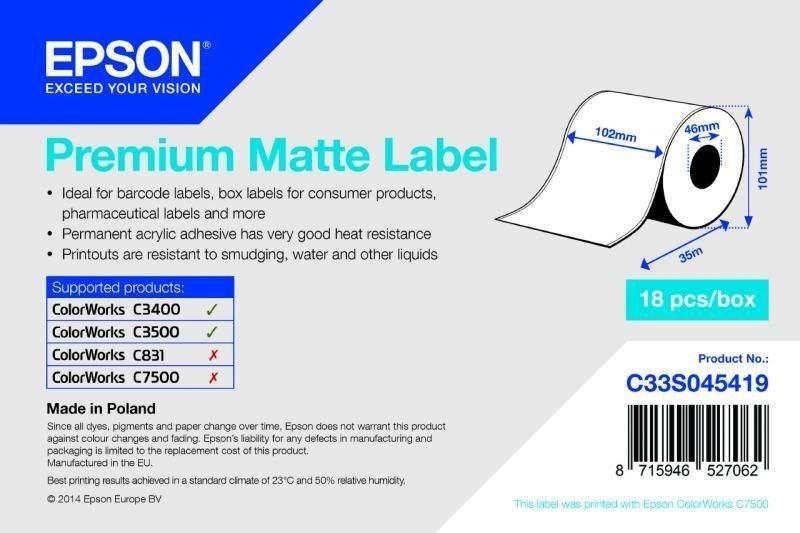 Premium Matte Label Continuous Roll - C33S045419