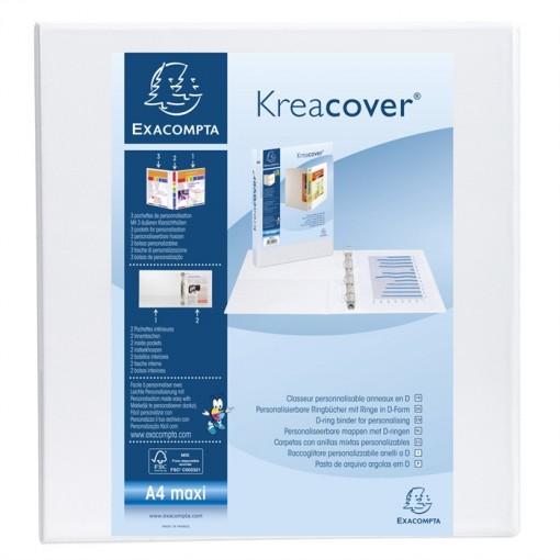 Ringbuch aus festem PP 2,3mm, 2 Ringe 50mm in D-Form, Rücken 75mm, 3 Außen- und 2 Innenhüllen, 32x29,5cm für DIN A4 Überbreite - Kreacover