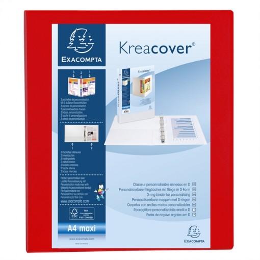 Ringbuch aus festem PP 2,3mm, 4 Ringe 25mm in D-Form, Rücken 47mm Rücken, 3 Außen- und 2 Innenhüllen, 32x27,7cm für DIN A4 Überbreite - Kreacover