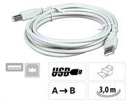 USB - Anschlußkabel Stecker A auf B, 3 m