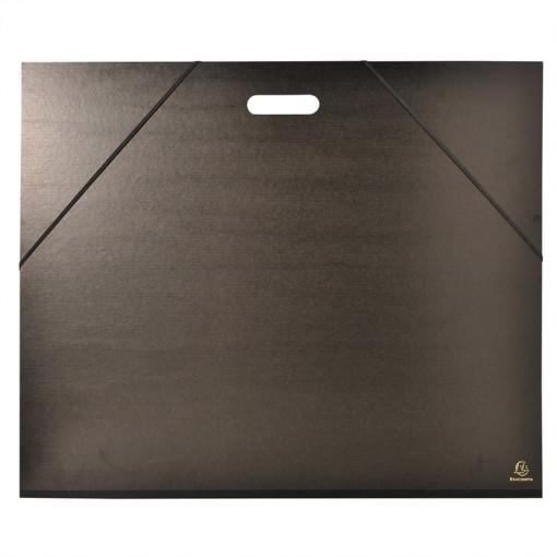 Zeichenmappe mit Gummizug und Griff für Format 50x70cm, Kraft schwarz, 52x72cm