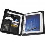 A4 Schreibmappe Exclusiv in Lederoptik mit Ringbuch und Taschenrechner