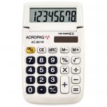ACROPAQ AC901WH - weißer Schultaschenrechner LC-Display 8 Stellen