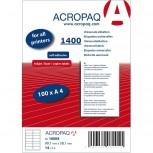 ACROPAQ LABELS - 100 A4 x 14 labels =  1400 selbstklebende Etiketten weiß 99,1x38,1mm