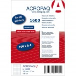 ACROPAQ LABELS - 100 A4 x 16  = 1600 selbstklebende Etiketten weiß 105x37mm