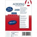 ACROPAQ LABELS - 100 A4 x 24 = 2400 selbstklebende Etiketten weiß 63,5 x33,9mm