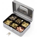 ACROPAQ TS0025SHG - Geldkassette mit Scloss und zwei Schlüssel  250x180x90mm shiny grau