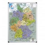 Bi-Office Magnetische Deutschlandkarte mit Aluminiumrahmen 120x90cm