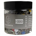 Blisterbox mit 1000 Stück Reißnägeln mit Kopf aus Messing, Ø9mm, Spitze 9mm
