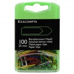 Box mit 100 Stück farbig sortierten Büroklammern, 25mm