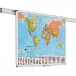 Design Schienen Karte der Welt 100x136 cm bedruckt
