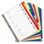 Farbige Register aus PP, 12-teilig, für DIN A4+
