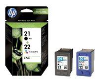 HP 21/22 original 2er-Pack Tinte schwarz, cyan, magenta, gelb - SD367AE