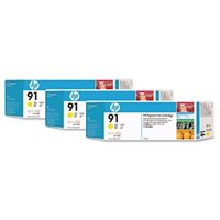 HP 91 original 3er-Pack Tinte gelb - C9485A