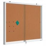 Innenvitrine weiß, Glas, Presskork 90x120 cm weiß/braun