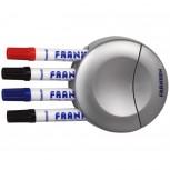 Markerhalter für Magnettafel, 4 Tafelschreiber, leer, grau