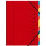 Ordnungsmappe aus Manilakarton 400g/qm geheftet mit 12 Fächern und Gummizug, für Format DIN A4