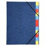 Ordnungsmappe aus Manilakarton 400g/qm geheftet mit 24 Fächern und Gummizug, für Format DIN A4