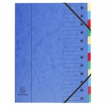 Ordnungsmappe mit Gummizug aus Manilakarton 400g/qm mit dehnbarem Harmonika-Rücken, bedruckten Indexfenstern und 12 Fächern, für Format DIN A4