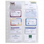 Packung mit 10 Stück Schutzhüllen gelocht aus glattem Qualitäts-PP 110µ, 10 Visitenkartenfächer, für Format DIN A4