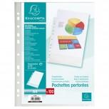 Packung mit 100 Prospekthüllen gelocht aus genarbtem PP 50µ, für Format DIN A4