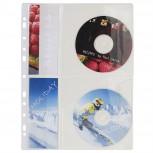 Packung mit 5 Stück Prospekthüllen gelocht aus Qualitäts-PVC 140µ, mit Klapphülle für CD/DVD, für Format DIN A4