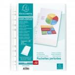 Packung mit 50 Prospekthüllen gelocht aus genarbtem PP 50µ, für Format DIN A4