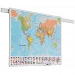 PartnerLine Schienen Karte Welt 100x136 cm bedruckt