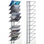 Perfo Wand-Prospekthalter Kiosk, 10 Positionen120x25x18 cm grau