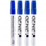 Permanent Marker, blau 4er Pack mit 1-3 mm Rundspitze und Metallschaft