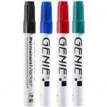 Permanent Marker, farbig sortiert, mit Keilspitze und Metallschaft, Strichbreite 1-5 mm 4er Pack Inhalt: je 1x schwarz, blau, rot und grün