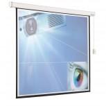 Projektionsbildwand elektrisch (1:1), 2 Profil 244x244 cm weiß/schwarz
