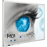 Projektionstafel, Softline Profil 8mm, email MICA (1:1)150x150 cm weiß