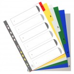 Register für Ordner und Ringbücher, aus PP, 6 Positionen, Taben 1-6, für DIN A4
